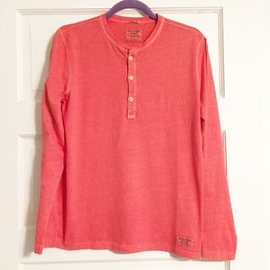 Abercrombie & Fitch Coral 3-Button Long-Sleeve Tee